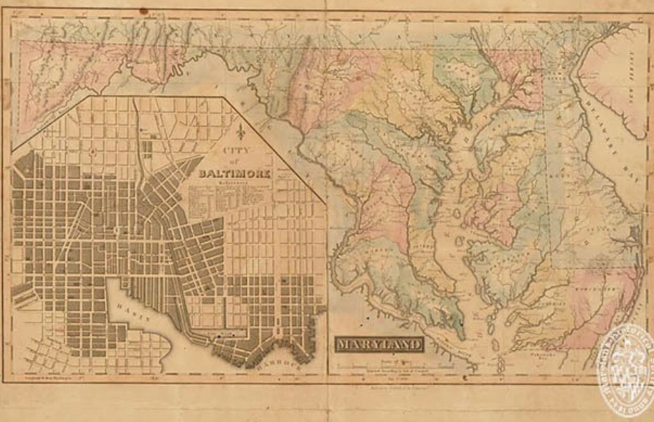 A historic map of Maryland.