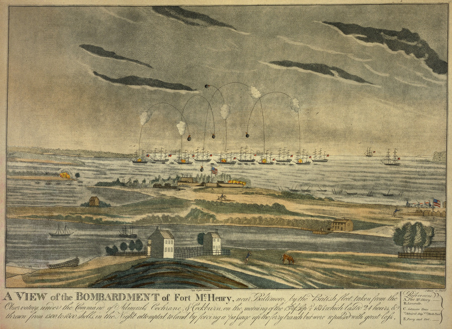 Drawing of the bombardment of Fort McHenry.