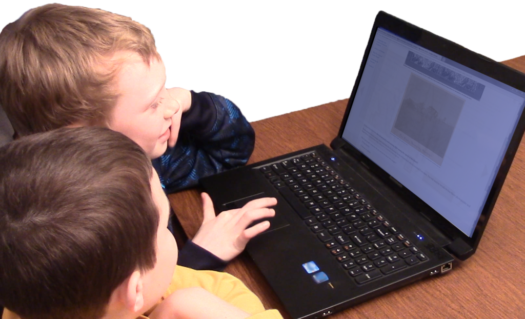 Two students explore an online lesson