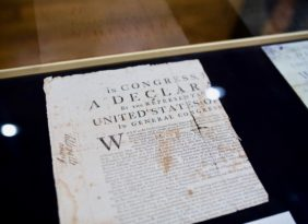 A display in the Inventing a Nation exhibition gallery.