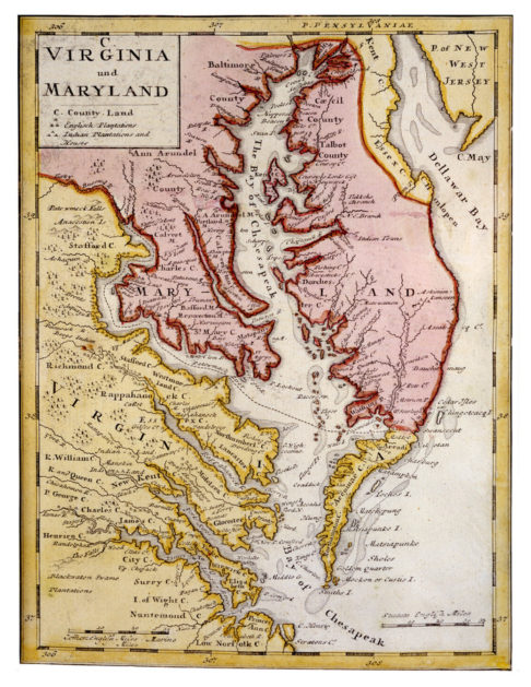 Historic map of Maryland and Virginia.